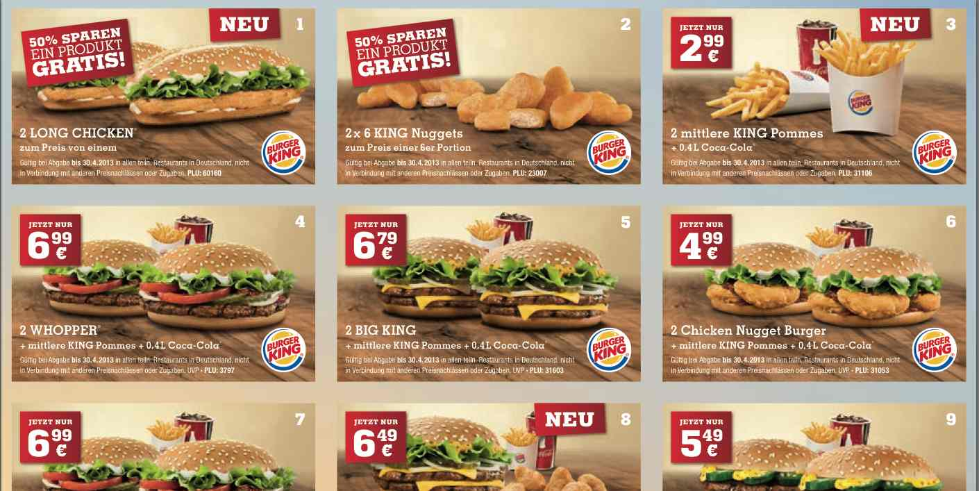 burger king sparscheine