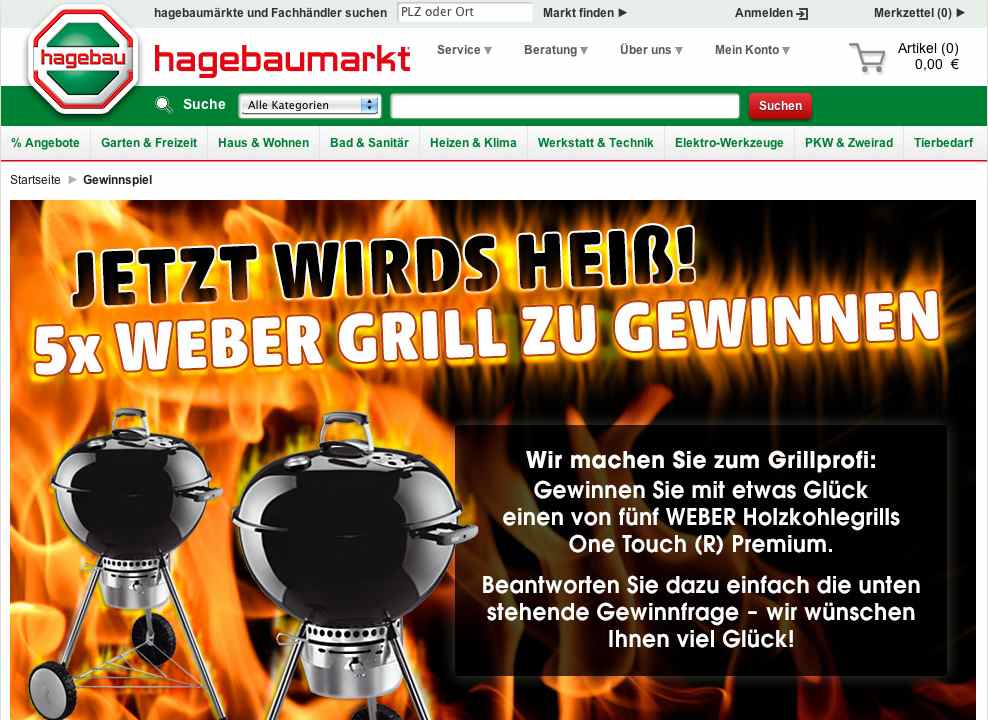 das hagebau weber grill gewinnspiel. Black Bedroom Furniture Sets. Home Design Ideas