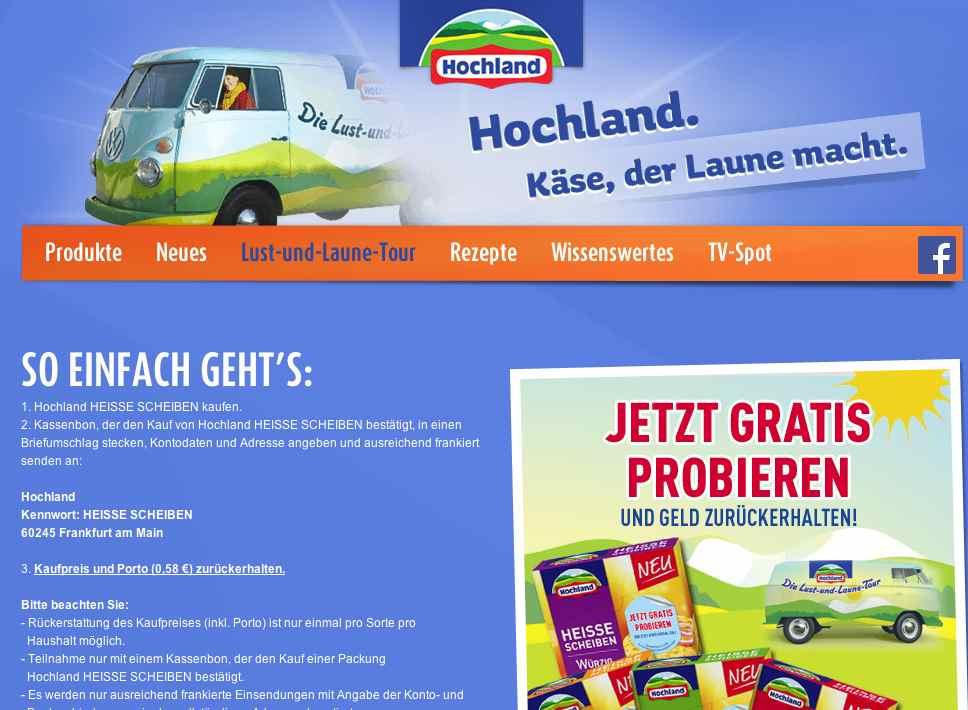 hochland kaese cashback Aktion