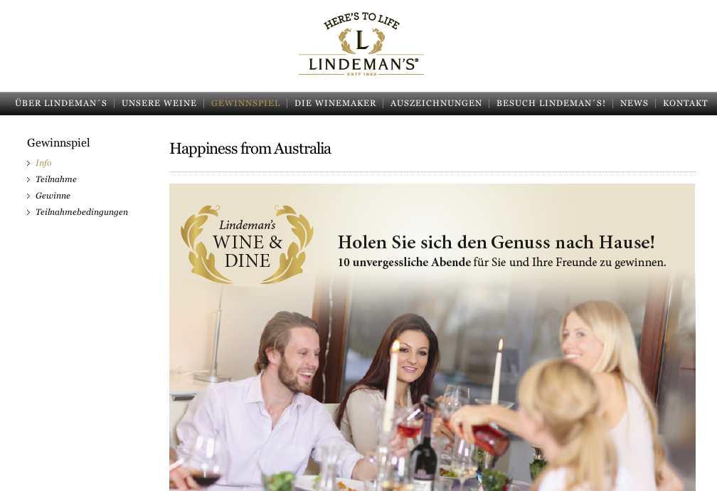 lindemans wineanddine gewinnspiel