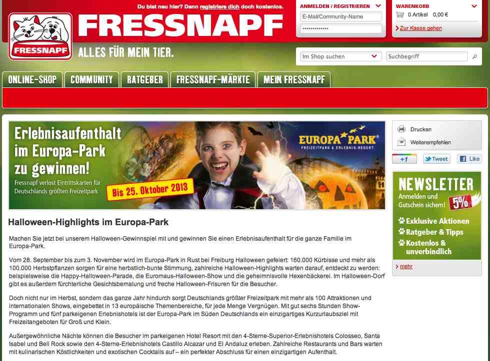 fressnapf europapark gewinnspiel