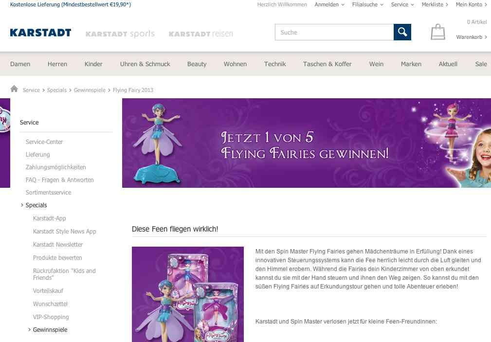 karstadt flying fairy gewinnspiel