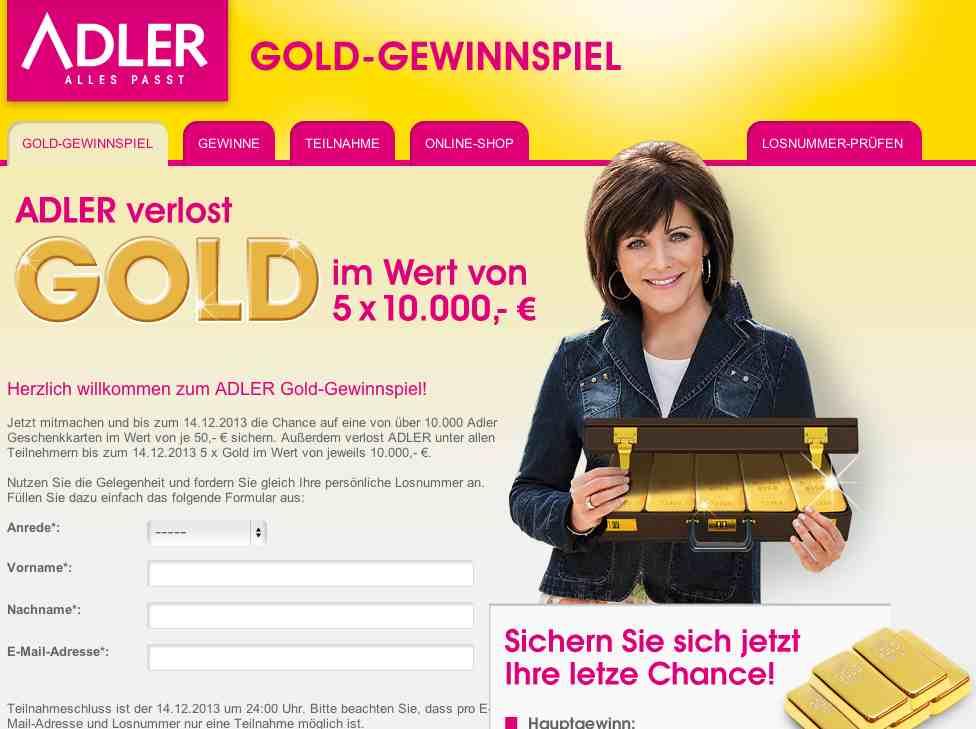 adler gold gewinnspiel
