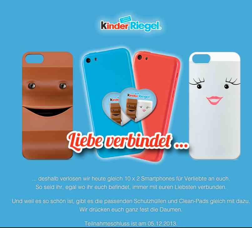 Smartphone Gewinnspiel von kinder Riegel - ichwilltesten.de