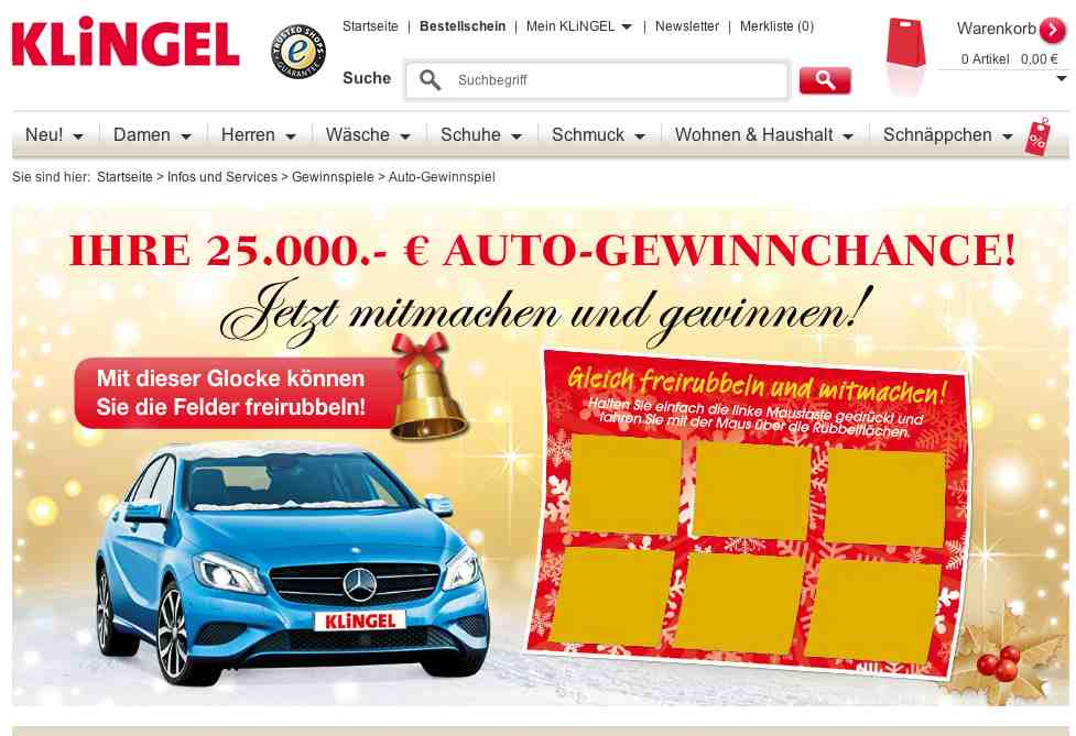 www klingel de mini gewinnspiel