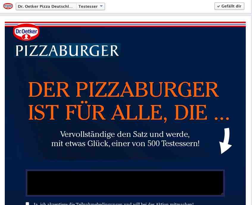 Dr. Oeter Pizzaburger Produkttester gesucht