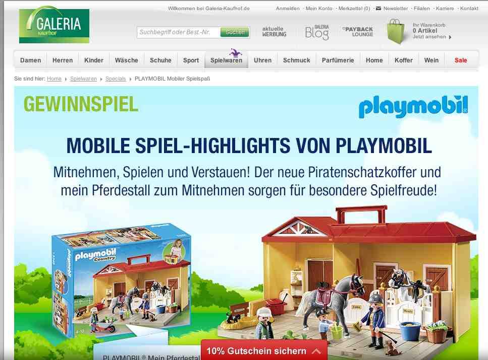 galeria kaufhof gewinnspiel playmobil