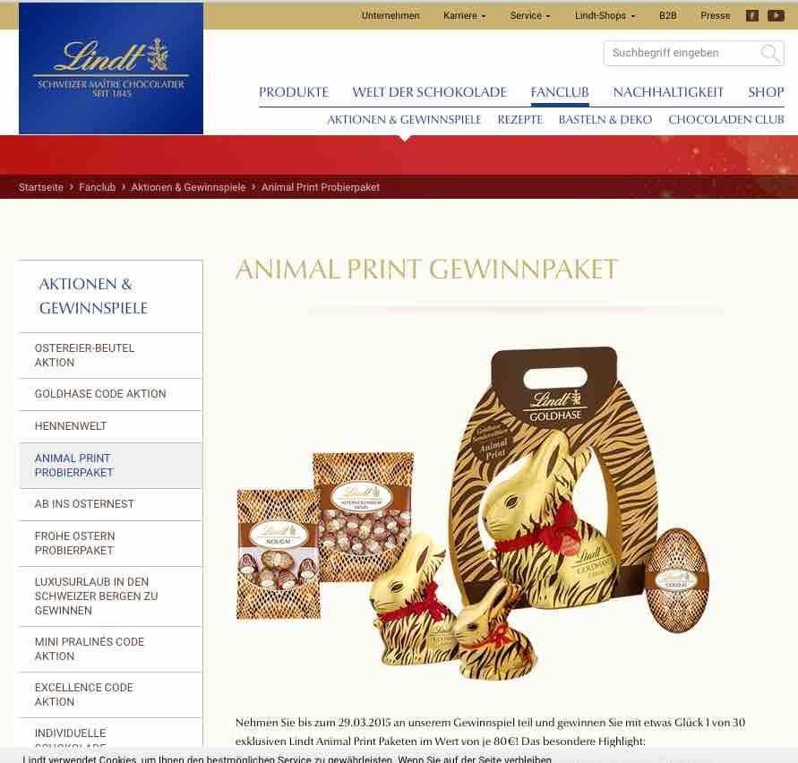 lindt animalprint gewinnspiel