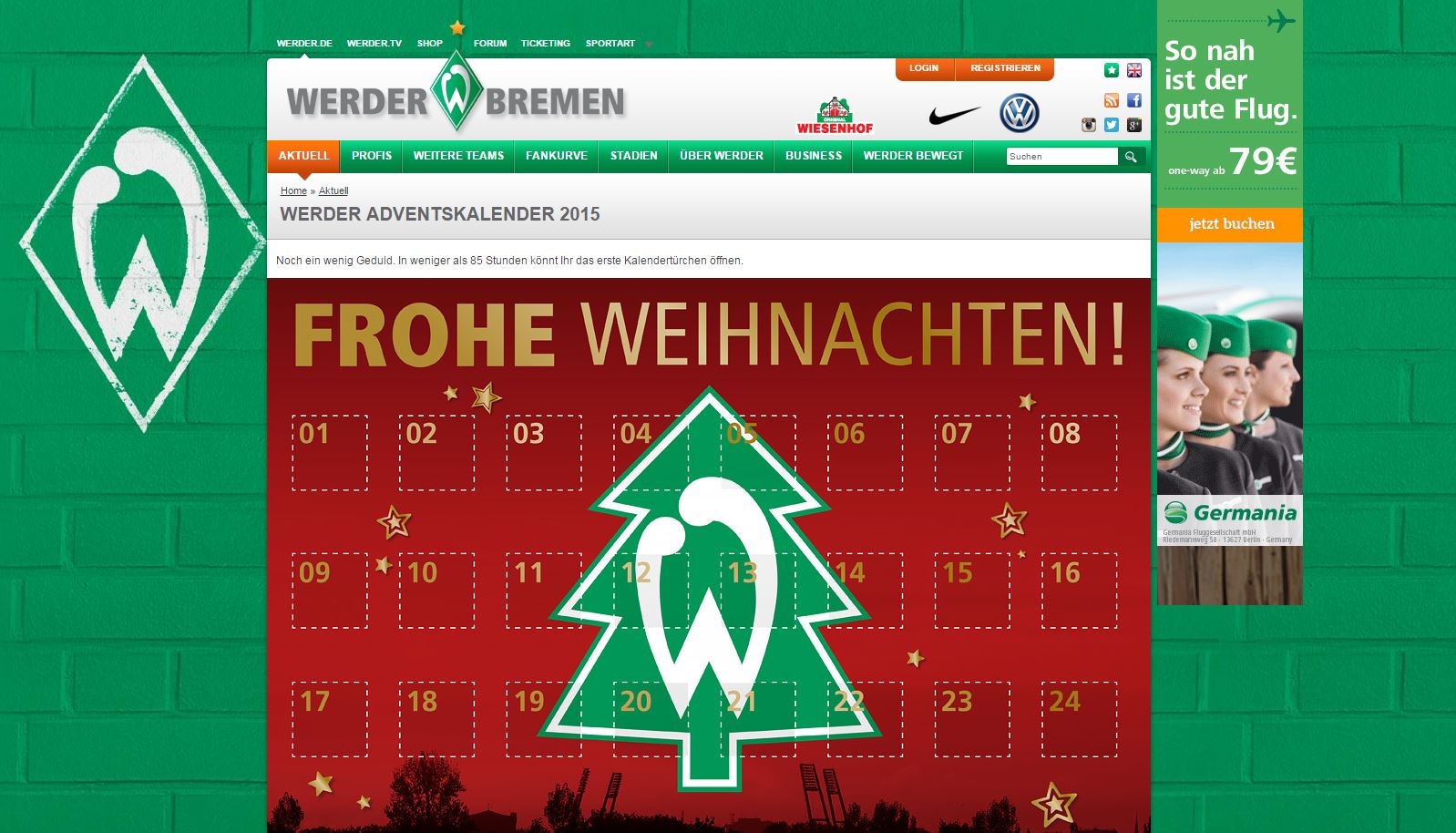 werder bremen adventskalender 2015. Black Bedroom Furniture Sets. Home Design Ideas