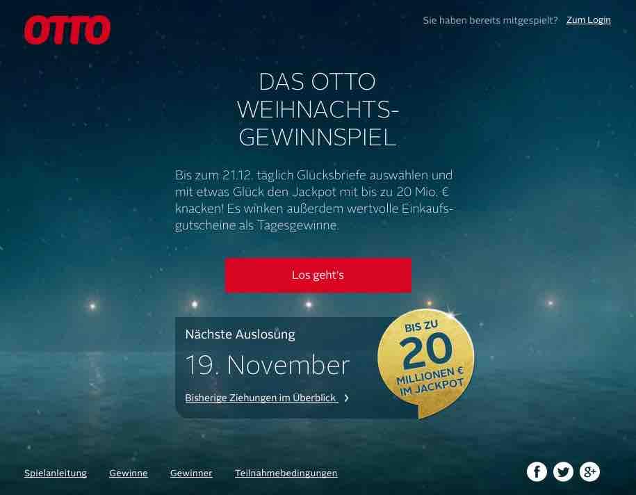 Otto Jackpot Gewinnspiel