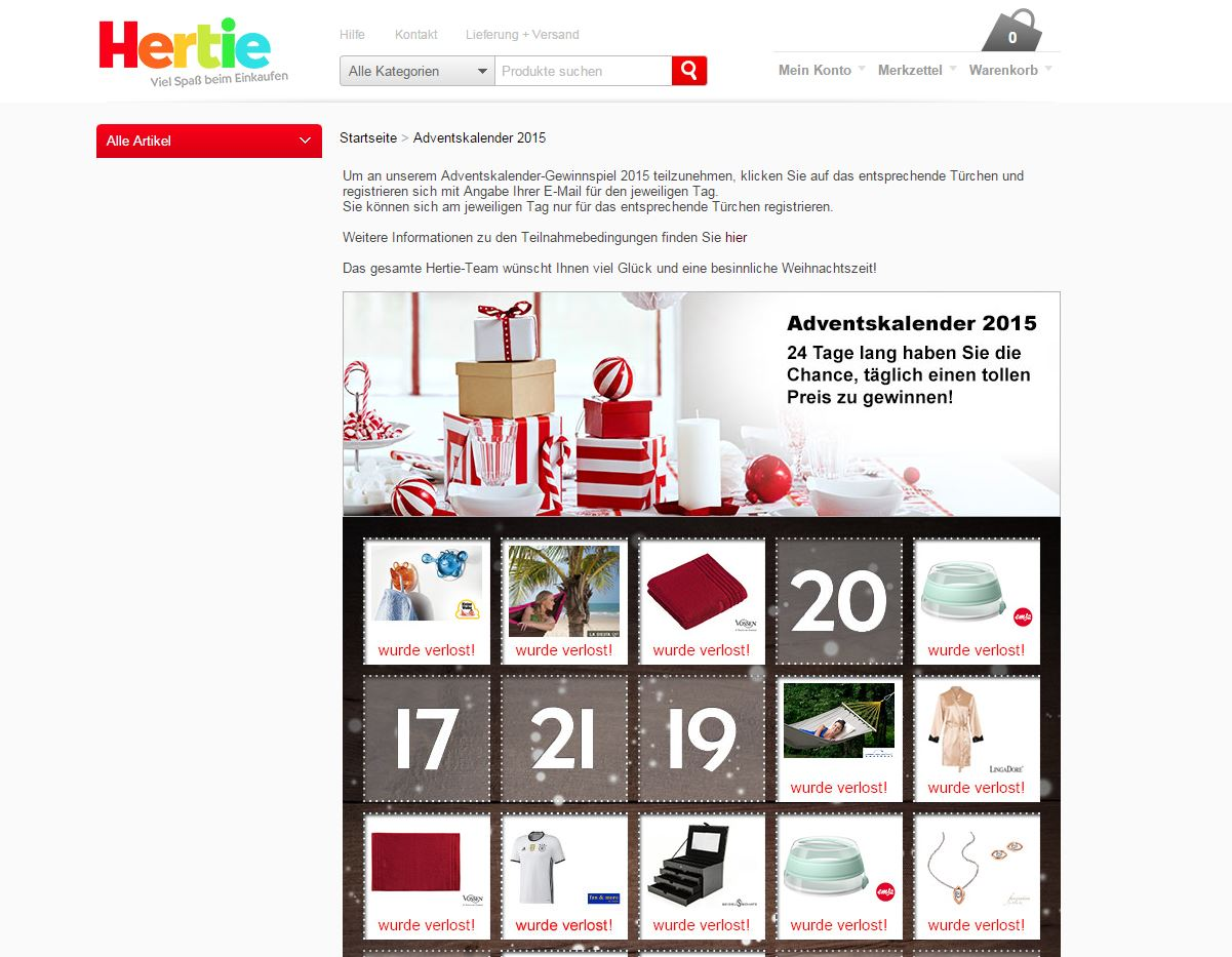 hertie adventskalender gewinnspiel. Black Bedroom Furniture Sets. Home Design Ideas