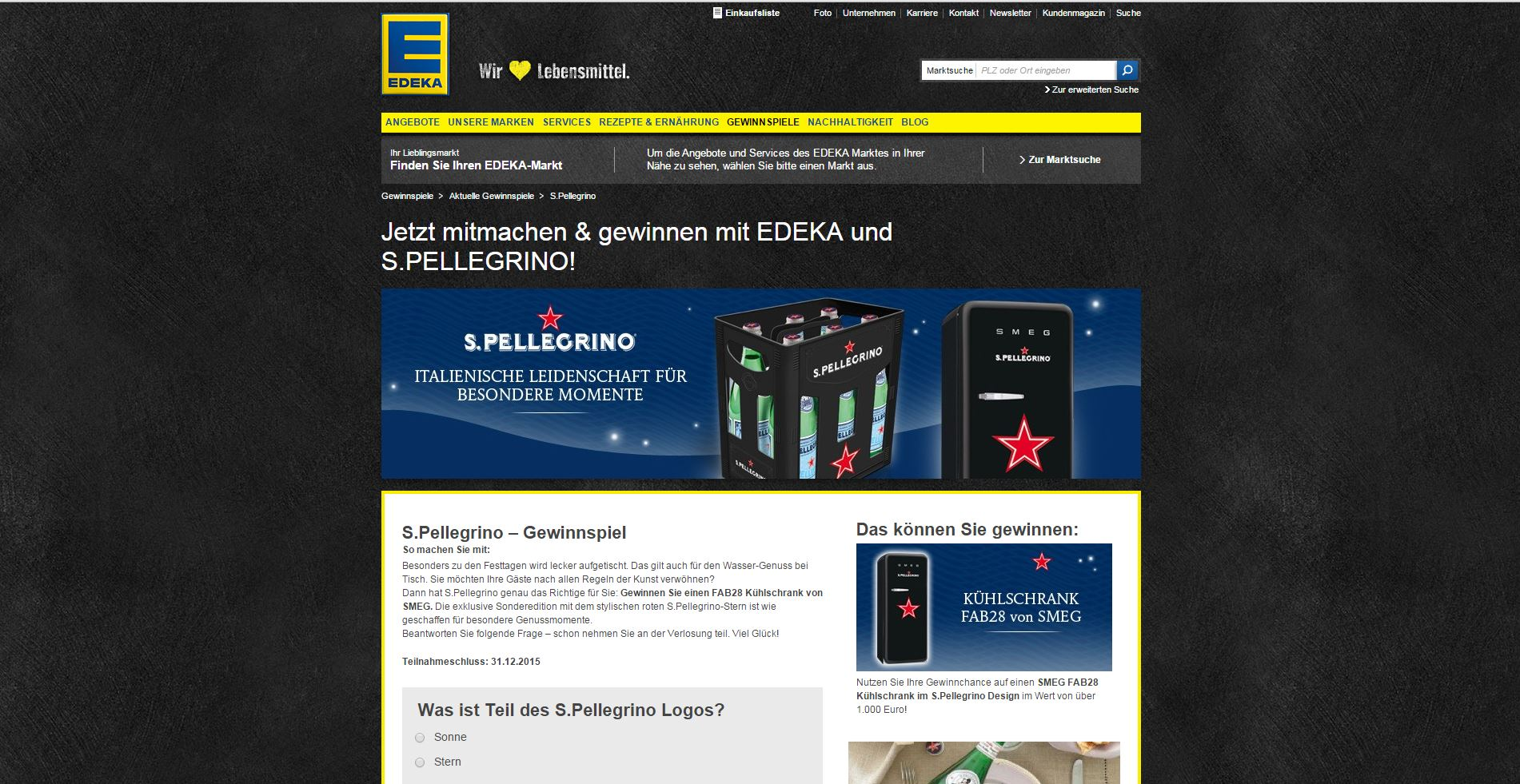 s pellegrino edeka gewinnspiel k hlschrank gewinnen. Black Bedroom Furniture Sets. Home Design Ideas