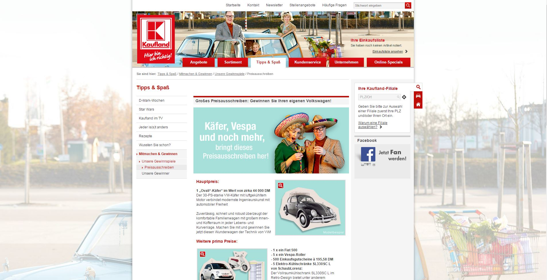 kaufland gewinnspiel vw k fer fiat 500 vespa uvm. Black Bedroom Furniture Sets. Home Design Ideas