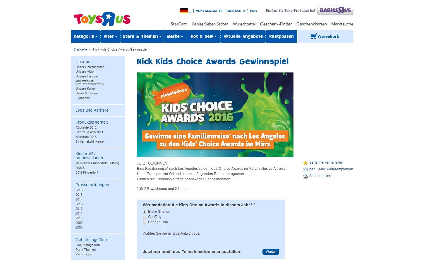 toys r us kids 39 choice awards reise gewinnspiel. Black Bedroom Furniture Sets. Home Design Ideas