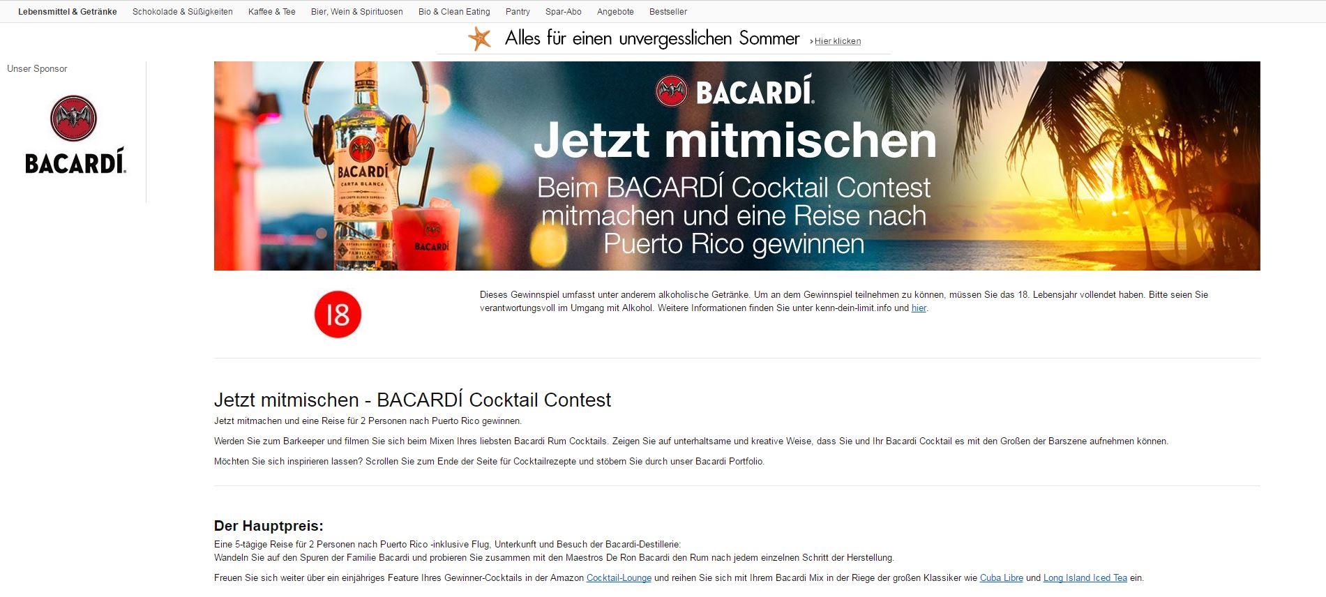 amazon gewinnspiel bacardi cocktail contest puerto rico reise gewinnen. Black Bedroom Furniture Sets. Home Design Ideas
