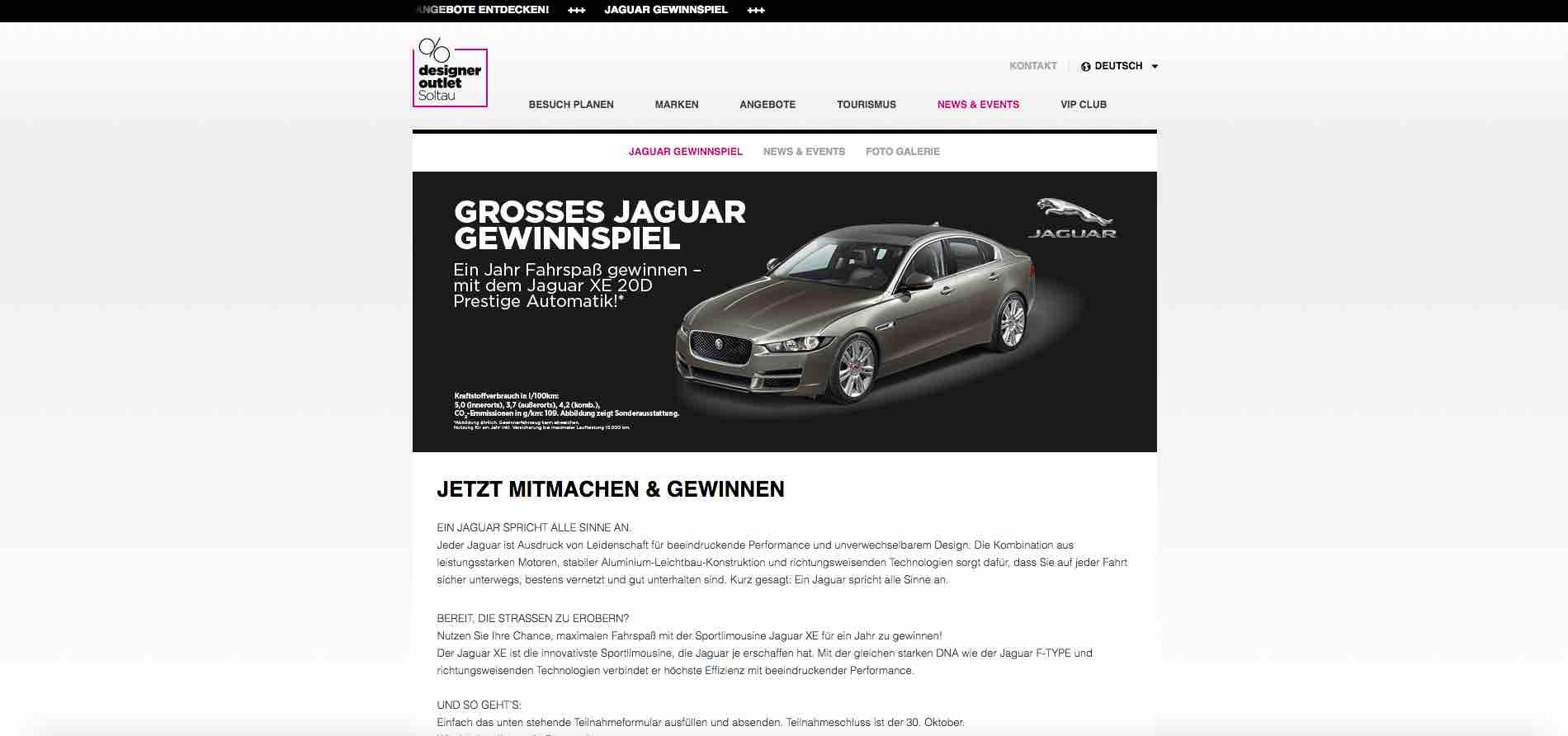 designer outlet soltau jaguar xe 20d gewinnspiel. Black Bedroom Furniture Sets. Home Design Ideas