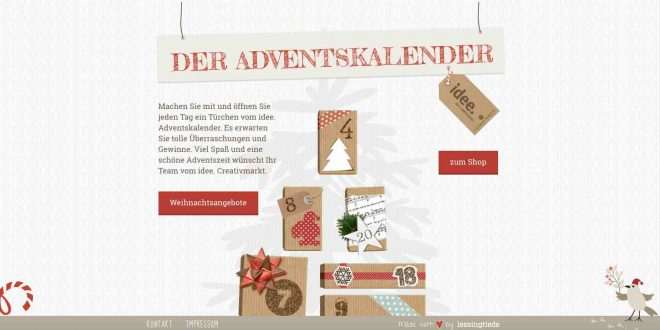 idee online adventskalender gewinnspiel bastelbedarf mehr. Black Bedroom Furniture Sets. Home Design Ideas
