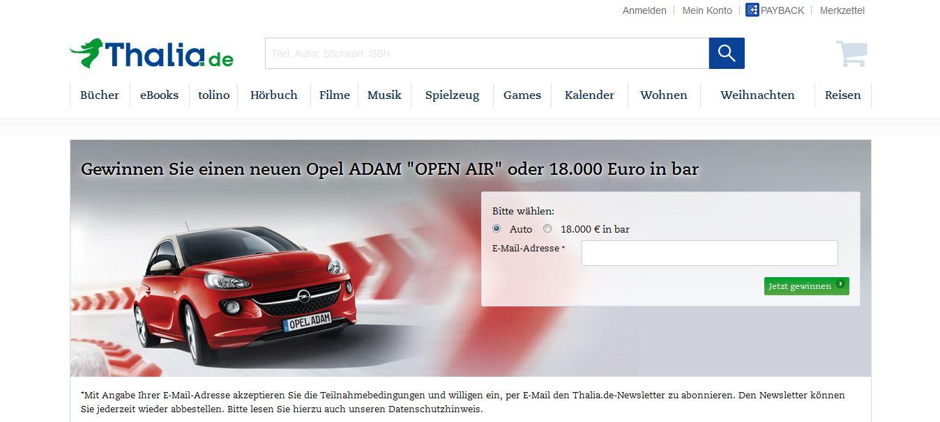 thalia winterverlosung | opel adam oder 18.000 euro gewinnen