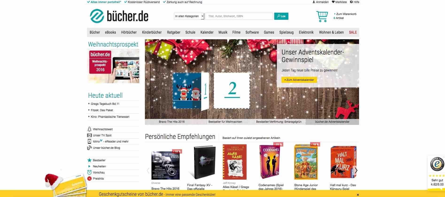 bücher.de Online Adventskalender Gewinnspiel 2016