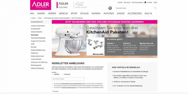 adler mode online gewinnspiel kitchenaid inkl zubeh r gewinnen. Black Bedroom Furniture Sets. Home Design Ideas