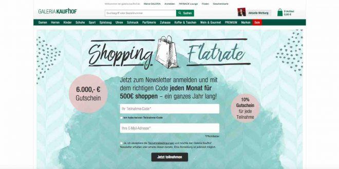 shopping flatrate gewinnen galeria kaufhof gewinncode aktion. Black Bedroom Furniture Sets. Home Design Ideas