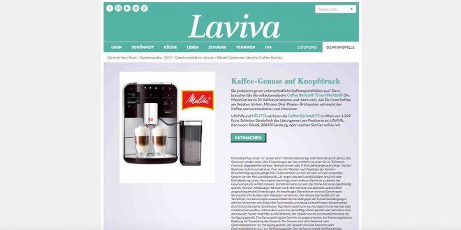 Laviva Com Gewinnspiele melitta gewinnspiel laviva melitta kaffeevollautomat gewinnen