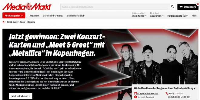 media markt rockt tickets f r metallica gewinnen inkl. Black Bedroom Furniture Sets. Home Design Ideas
