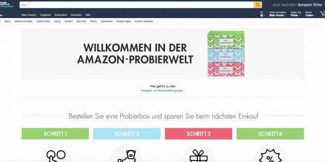 amazon prime aktion gratis probierbox geschenkt bekommen. Black Bedroom Furniture Sets. Home Design Ideas