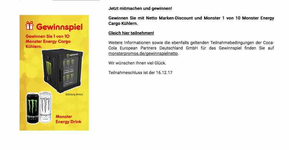 Netto Gewinnspiel Monster Kühlschrank - ichwilltesten.de