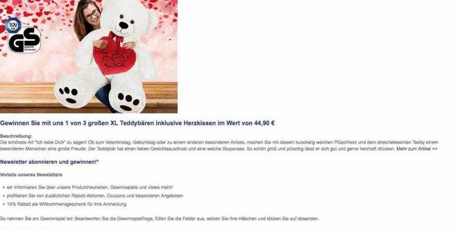 deuba24online gewinnspiel einen gro en xl teddyb r gewinnen. Black Bedroom Furniture Sets. Home Design Ideas