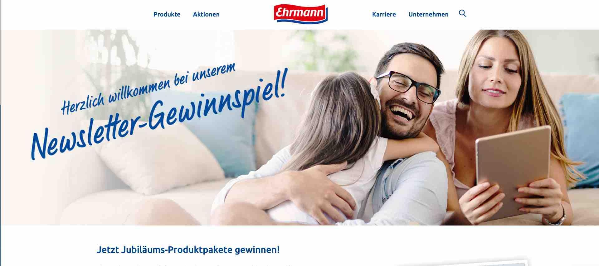ehrmann produktpakete gewinnspiel