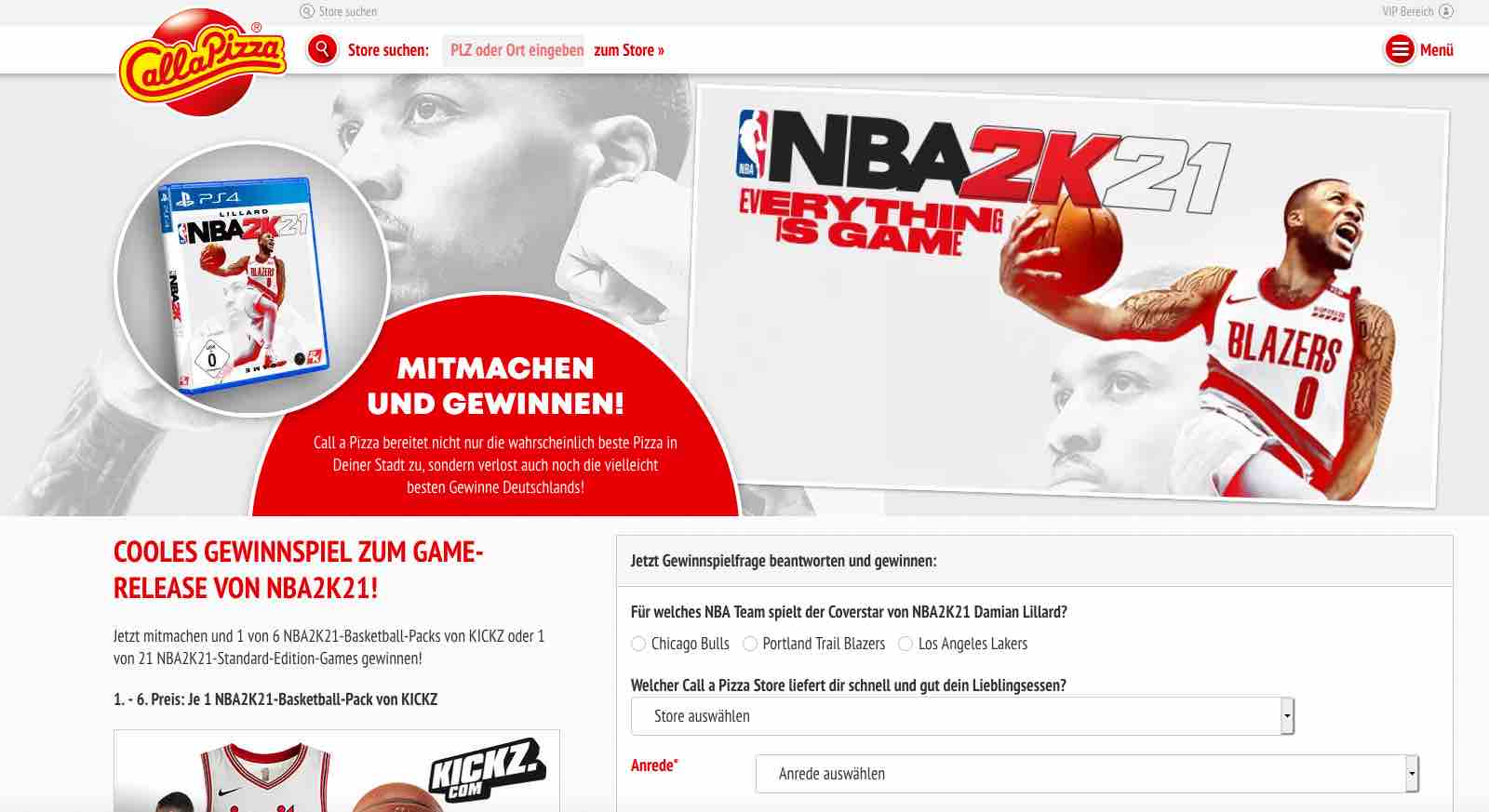 callapizza nba2k21 gewinnspiel